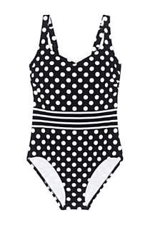 Women's Tummy Control V-Neck One Piece Swimsuit Adjustable Straps Print, Front