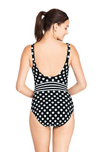 Women's Tummy Control V-Neck One Piece Swimsuit Adjustable Straps Print, Back