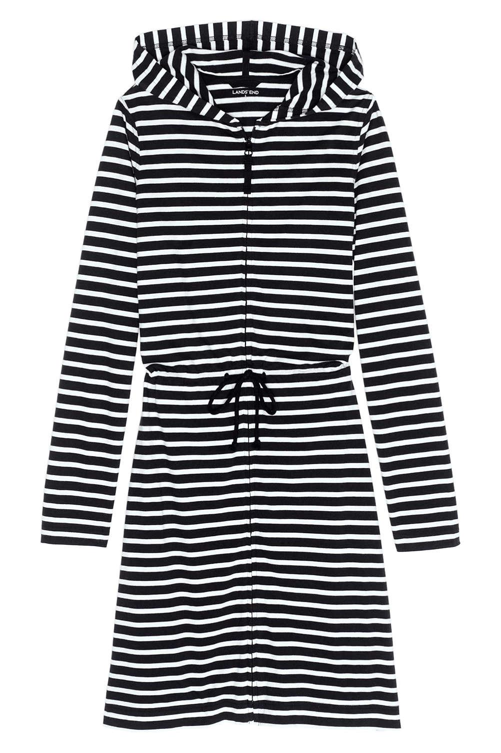 779703880cdb3 Women s Plus Size Cotton Jersey Hooded Full Zip Swim Cover-up Stripe ...