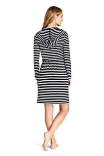 Women's Long Cotton Jersey Long Sleeve Hooded Full Zip Swim Cover-up Dress Print, Back