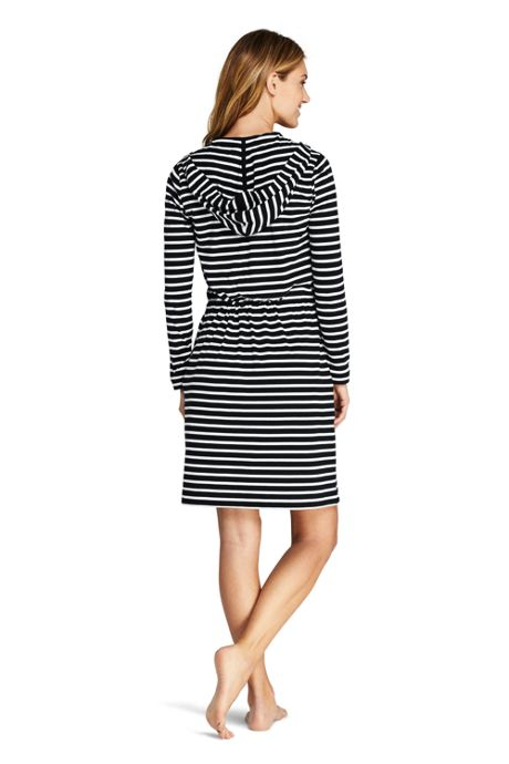 Women's Long Cotton Jersey Hooded Full Zip Swim Cover-up Stripe