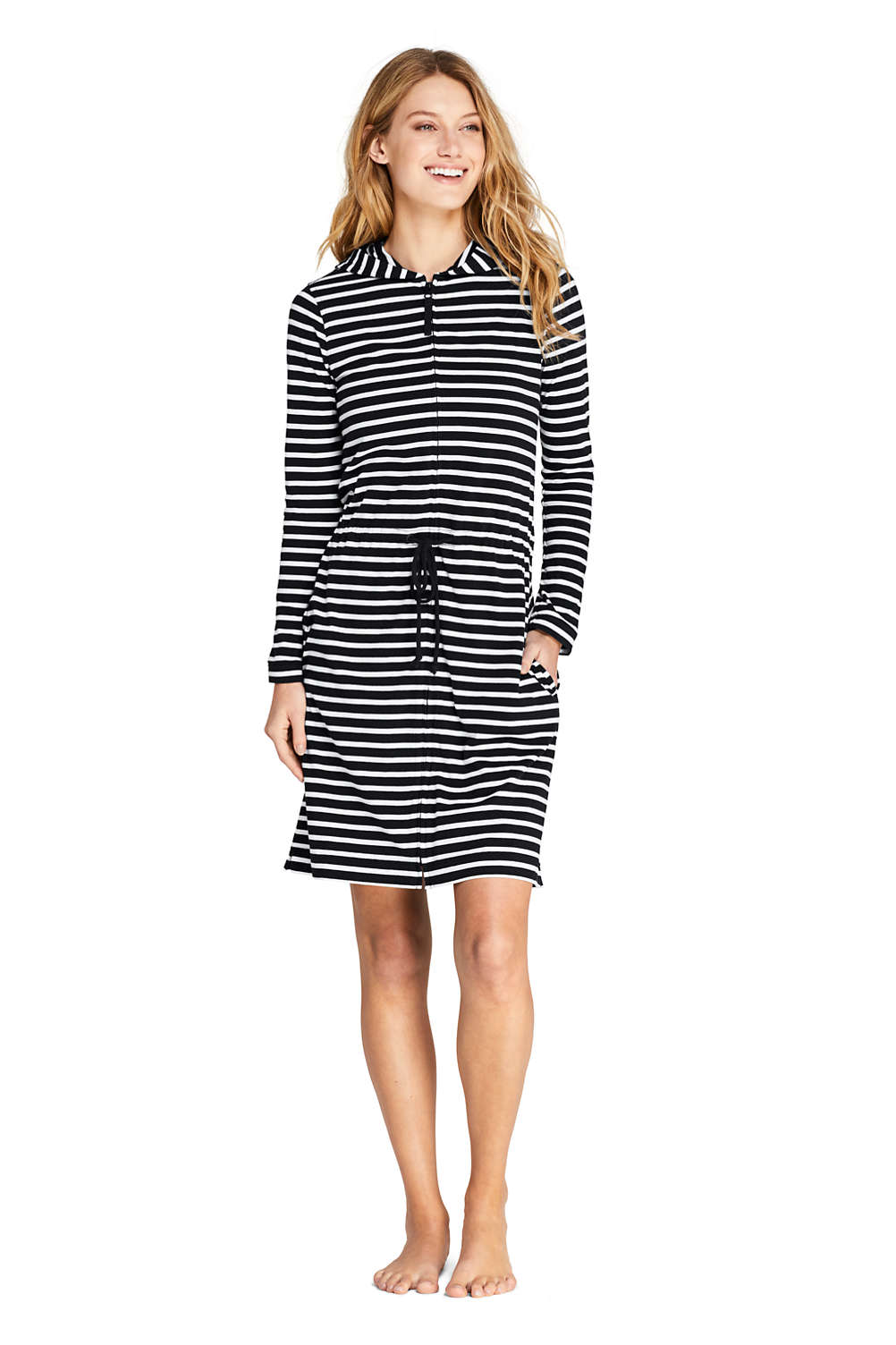 50c5add73f6 Women's Cotton Jersey Hooded Full Zip Swim Cover-up Stripe from Lands' End