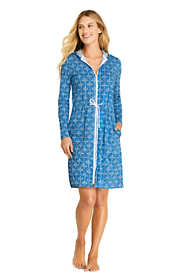 Women's Long Cotton Jersey Long Sleeve Hooded Full Zip Swim Cover-up Dress Print
