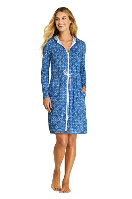 Women's Cotton Jersey Long Sleeve Hooded Full Zip Swim Cover-up Dress Print