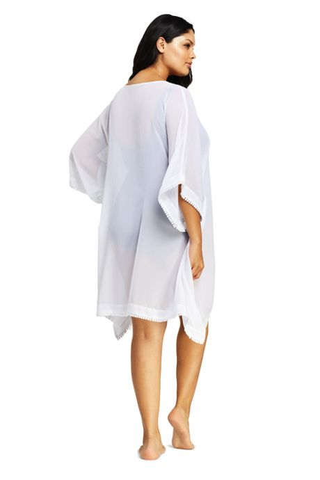 Women's Plus Size Embroidered Woven Dolman Caftan Swim Cover-up