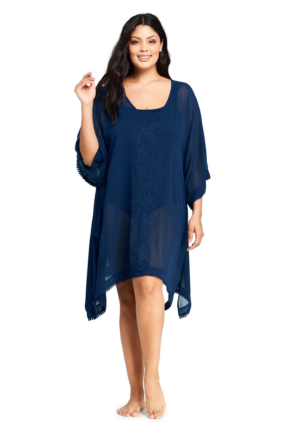 Women S Plus Size Embroidered Woven Dolman Caftan Swim Cover Up From Lands End