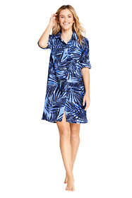 Women's Cotton Button Down Shirt Dress Swim Cover-up Print