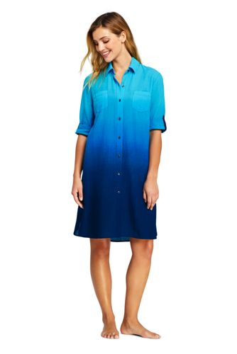 Women's Plus Print Shirtdress Cover-up