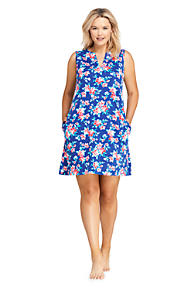 f1f78611c26 Women s Plus Size Cotton Jersey Sleeveless Tunic Dress Swim Cover-up Print