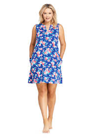 Women's Plus Size Cotton Jersey Sleeveless Tunic Dress Swim Cover-up Print