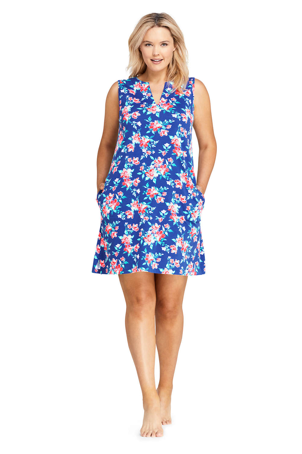 c65ebd5dc0660 Women s Plus Size Cotton Jersey Sleeveless Tunic Dress Swim Cover-up Print  from Lands  End