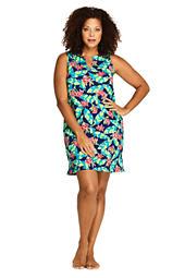 ff0595958e6e6 Women's Plus Size Cotton Jersey Sleeveless Tunic Dress Swim Cover-up Print