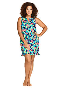 eb1323cf46 Women's Plus Size Cotton Jersey Sleeveless Tunic Dress Swim Cover-up Print