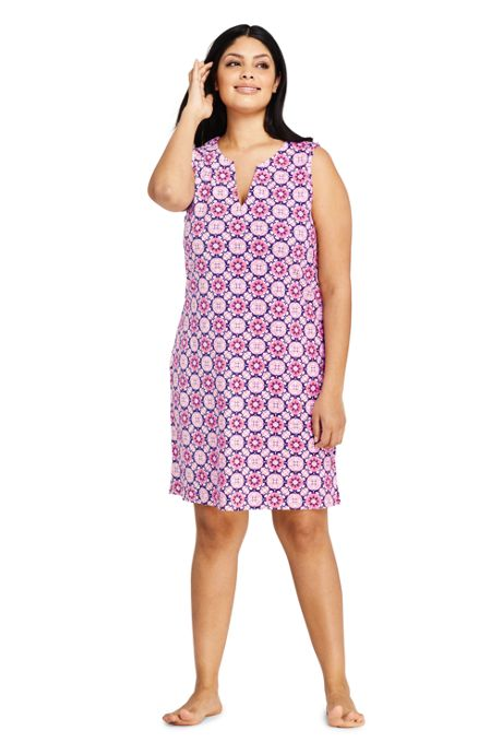 6545e4f915 Women's Plus Size Cotton Jersey Sleeveless Tunic Dress Swim Cover-up Print  ...