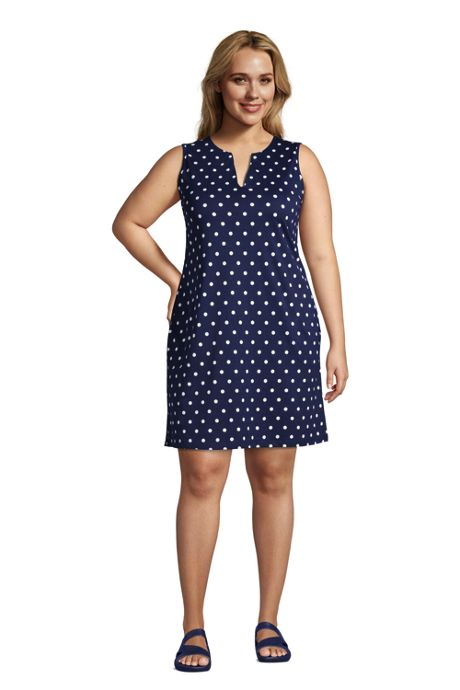 Women's Plus Size Cotton Jersey Sleeveless Swim Cover-up Dress Print