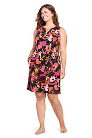Women's Plus Size Cotton Jersey Sleeveless Swim Cover-up Dress Print