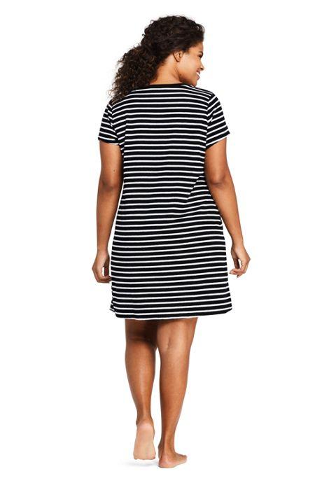 Women's Plus Size Terry T-Shirt Dress Swim Cover-up Stripe