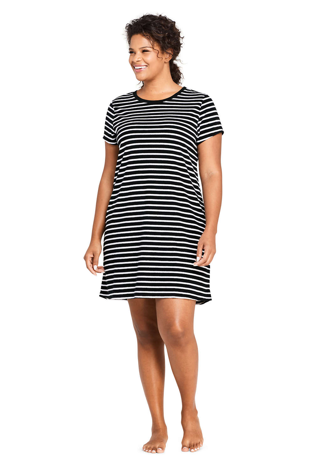 886b4fef14206 Women s Plus Size Terry T-Shirt Dress Swim Cover-up Stripe from Lands  End