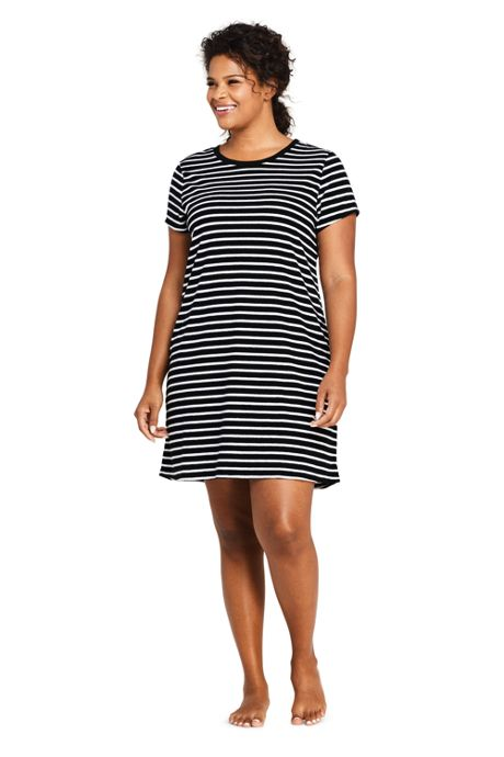 Women's Plus Size Terry T-Shirt Dress Swim Cover-up Stripe