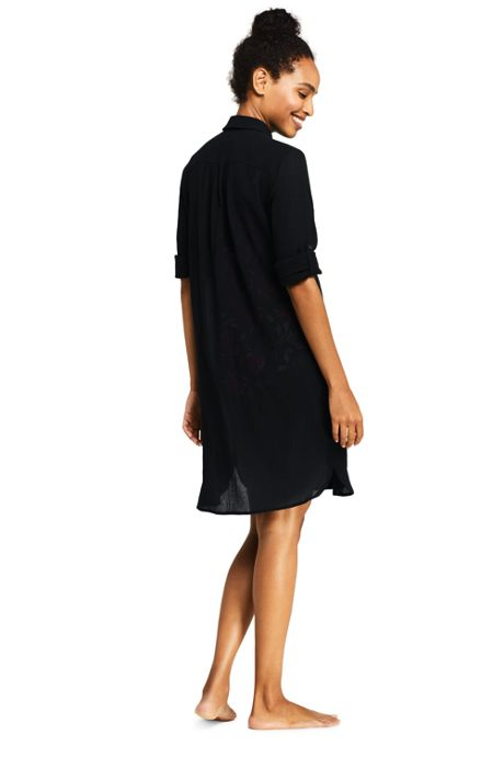 Women's Petite Cotton Button Down Shirt Dress Swim Cover-up