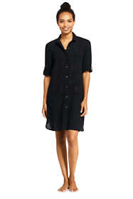 Women's Cotton Button Down Shirt Dress Swim Cover-up