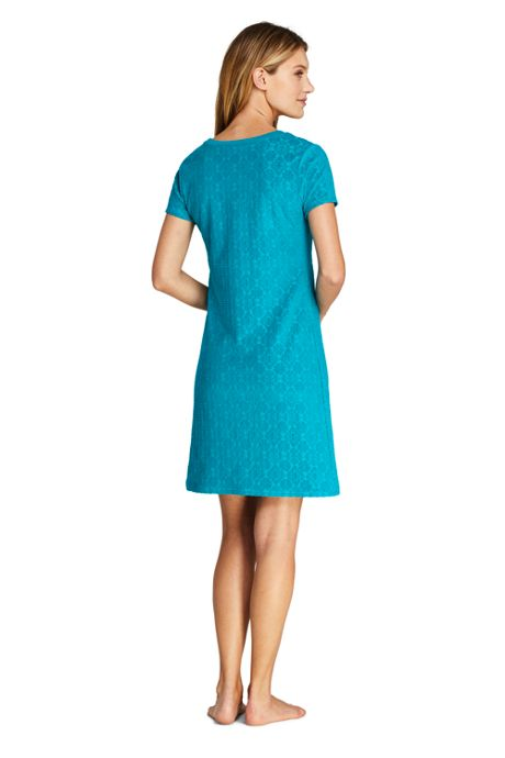 Women's Petite Jacquard Terry T-Shirt Dress Swim Cover-up