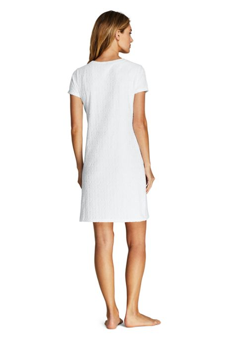 Women's Long Jacquard Terry T-Shirt Dress Swim Cover-up