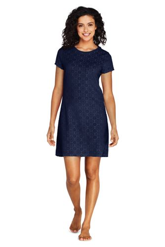 Women's Jacquard Terry T-shirt Dress Beach Cover-up