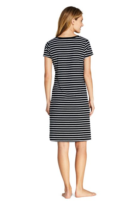 Women's Terry T-Shirt Dress Swim Cover-up Stripe