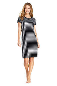 Women's Petite Terry T-Shirt Dress Swim Cover-up Stripe