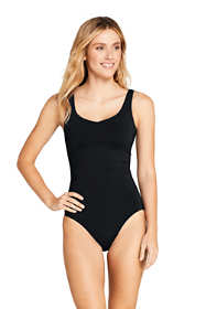 Women's Tummy Control V-Neck One Piece Swimsuit Adjustable Straps Black