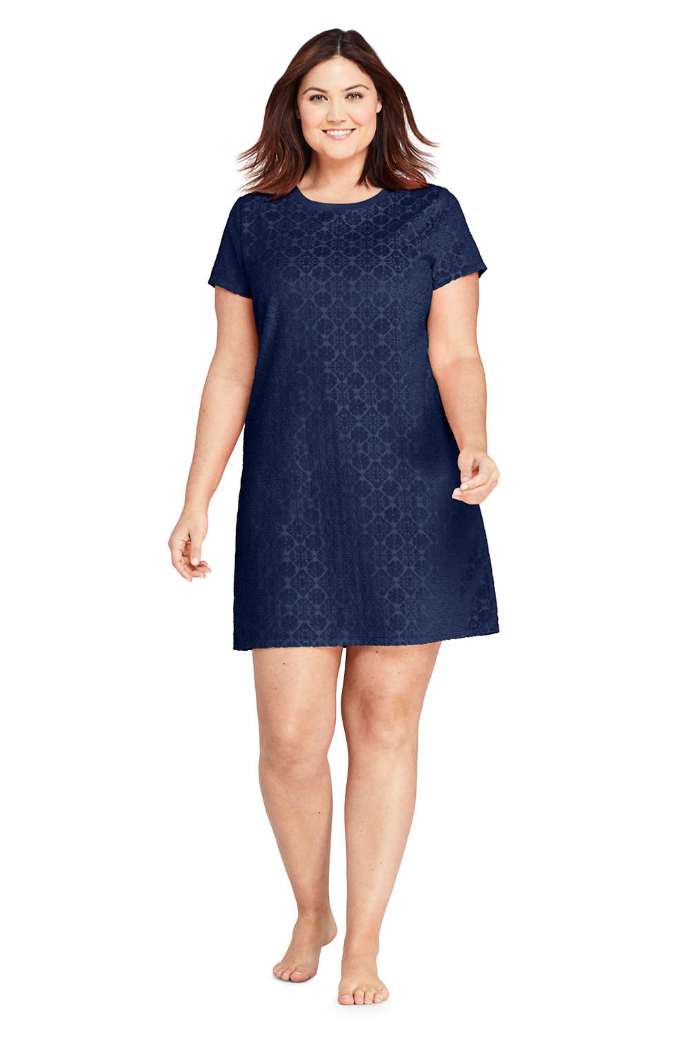 1551dfdf11 Women's Plus Size Jacquard Terry T-Shirt Dress Swim Cover-up from Lands' End