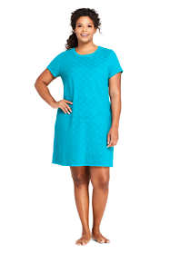 Women's Plus Size Jacquard Terry T-Shirt Dress Swim Cover-up