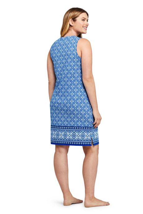 Women's Petite Cotton Jersey Sleeveless Swim Cover-up Dress Print