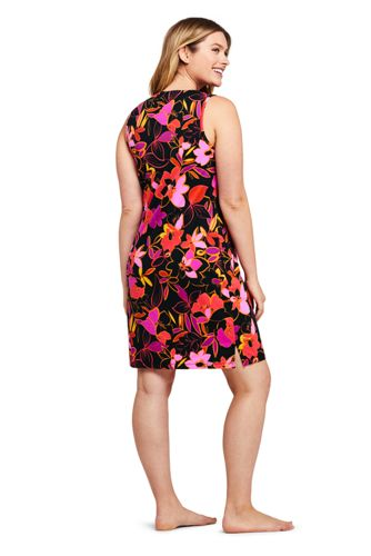 Women's Cotton Jersey Sleeveless Swim Cover-up Dress Print