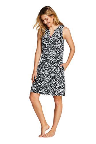 413ba503893 Women s Cotton Jersey Sleeveless Tunic Dress Swim Cover-up Print