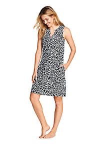 d93bdc63a6 Women s Cotton Jersey Sleeveless Tunic Dress Swim Cover-up Print