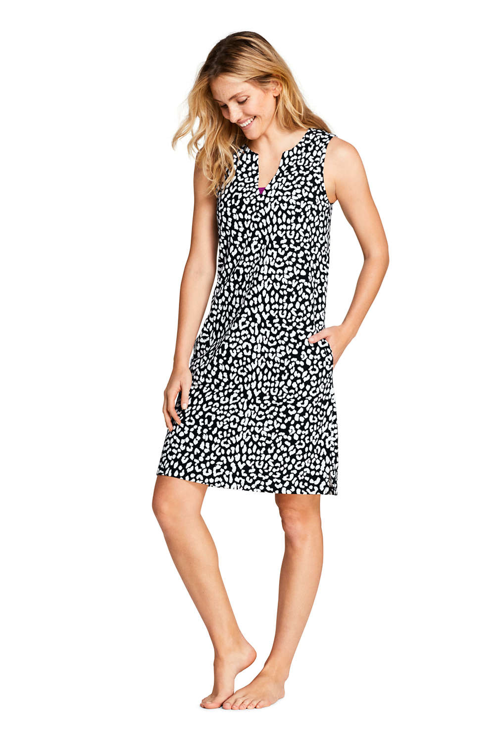 fe1378af31 Women s Petite Cotton Jersey Sleeveless Tunic Dress Swim Cover-up Print
