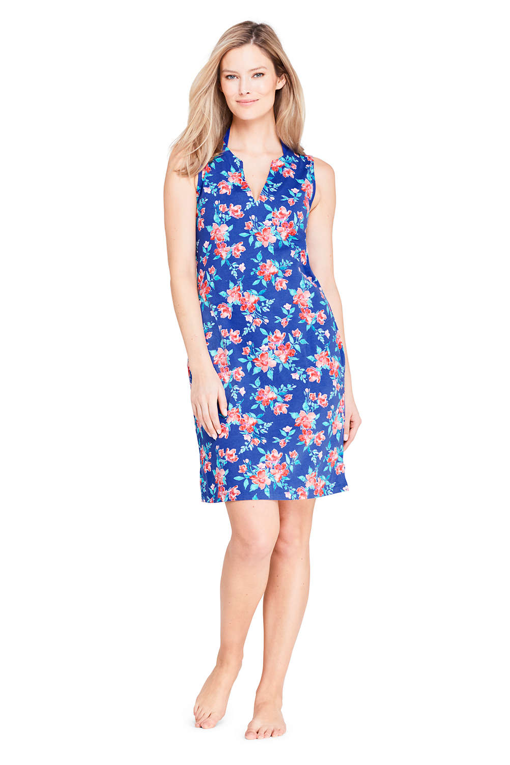 84cf3846d64 Women's Cotton Jersey Sleeveless Tunic Dress Swim Cover-up Print from  Lands' End