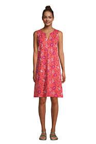Women's Petite Cotton Jersey Sleeveless Swim Cover-up Dress Print