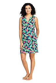2c95485be4238 Women's Cotton Jersey Sleeveless Tunic Dress Swim Cover-up Print