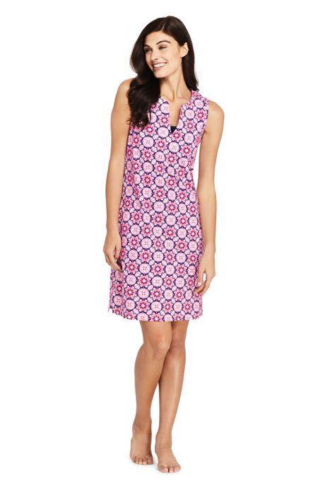 Women's Petite Cotton Jersey Sleeveless Tunic Dress Swim Cover-up Print