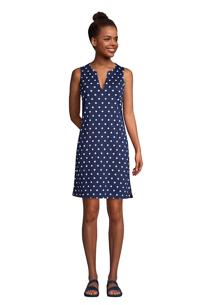 Women's Cotton Jersey Sleeveless Swim Cover-up Dress Print, Front