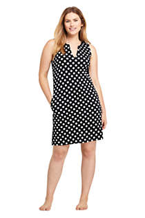 Women's Petite Cotton Jersey Sleeveless Swim Cover-up Dress Print, Front