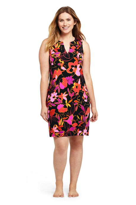 Women's Long Cotton Jersey Sleeveless Swim Cover-up Dress Print