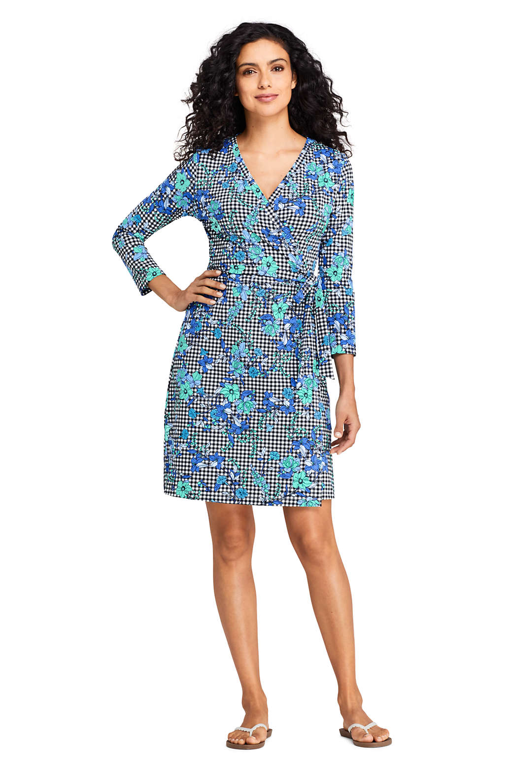 bd4bf73bfb7 Women s Swim Cover-up Wrap Dress with UV Protection Print from Lands  End