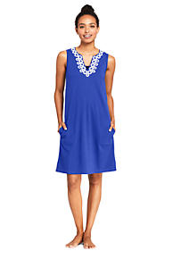 c942591cebe6f Women's Cotton Jersey Embelished Sleeveless Tunic Dress Swim Cover-up