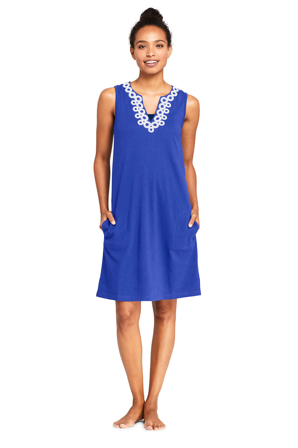 eb92f20db91 Women's Cotton Jersey Embelished Sleeveless Tunic Dress Swim Cover-up from  Lands' End