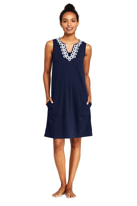 Women's Petite Cotton Jersey Embelished Sleeveless Tunic Dress Swim Cover-up