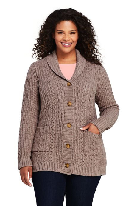 Women's Plus Size Lofty Cable Cardigan Sweater